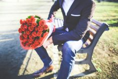 man with a bouquet of roses picjumbo com